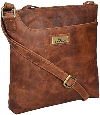 Genuine Leather Crossbody Handbag for Women - Shoulder bag for Womens Handmade by way of LEVOGUE (BROWN OILY HUNTER)