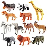 Mbros.KRJW 12-Pack Jungle Animal Toy Set Realistic Wild Animal Educational and Development Toy Kids Toddlers Boys Girls