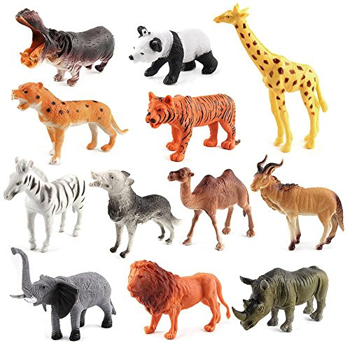 Mbros.KRJW 12-Pack Jungle Animal Toy Set Realistic Wild Animal Educational and Development Toy Kids Toddlers Boys Girls by Mbros.KRJW