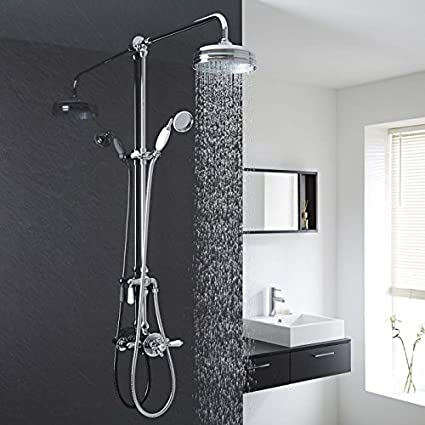 exposed pipe shower . Hudson Reed Traditional Shower System With Exposed Pipe  8 Rainfall Head Old Style Lever Handshower In Chrome Finish Bathtub And