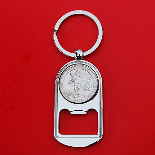 US 2016 South Carolina Fort Moultrie at Fort Sumter National Monument Quarter BU Uncirculated Coin Silver Tone Key Chain Ring Bottle Opener NEW - America the Beautiful (Silver Quarter Key)