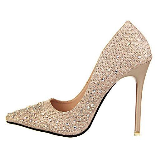 Aalardom Donna Materiale Morbido Solidi Spuntoni-stiletti Scarpe A Punta Pompe-scarpe Con Vetro Diamante Oro-pu