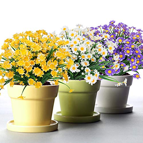 TEMCHY Artificial Daisies Flowers Outdoor UV Resistant 6 Bundles Fake Foliage Greenery Faux Plants Shrubs Plastic Bushes for Window Box Hanging Planter Farmhouse Indoor Outside Decor(Mix Color) (Best Flowers Place Buy Faux To)