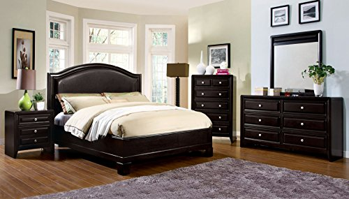 Winsor Collection Transitional Platform Bed Espresso Finish Queen Size Bed Dresser Mirror Nightstand 4pc Set Curved Padded leatherette Headboard ()