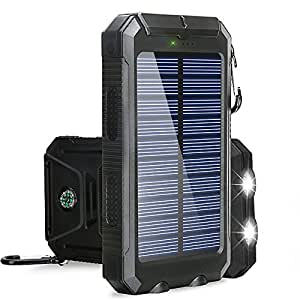 Solar Charger, BESWILL 10000MAH Solar Phone Charger Waterproof Portable External Battery Pack Dual USB Solar Power Bank with 2 Flashlights Carabiner and Compass for iPhone and Other Smart Devices
