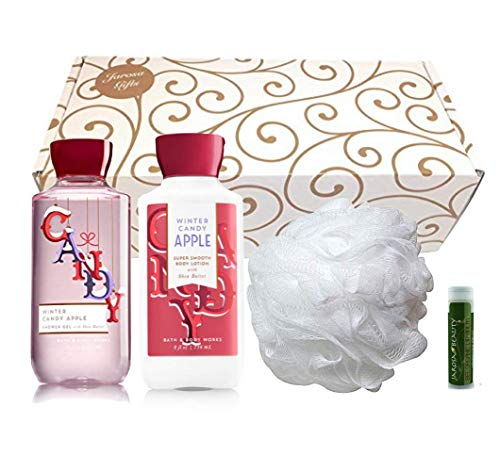WINTER CANDY APPLE Bath & Body Works Shower Gel, Body Lotion & Shower Puff with a Jarosa Peppermint Lip Balm in a Gold Scroll -