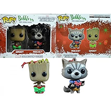 Christmas Groot Funko Pop.Groot And Rocket Pop Bobblers Hanging Christmas Ornaments Marvel Collectors Corp Exclusives By Funko