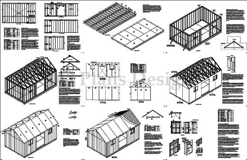 12' x 20' Garden / Utility / Storage Shed Plans, Material List and Step By Step Included, Design # D1220G