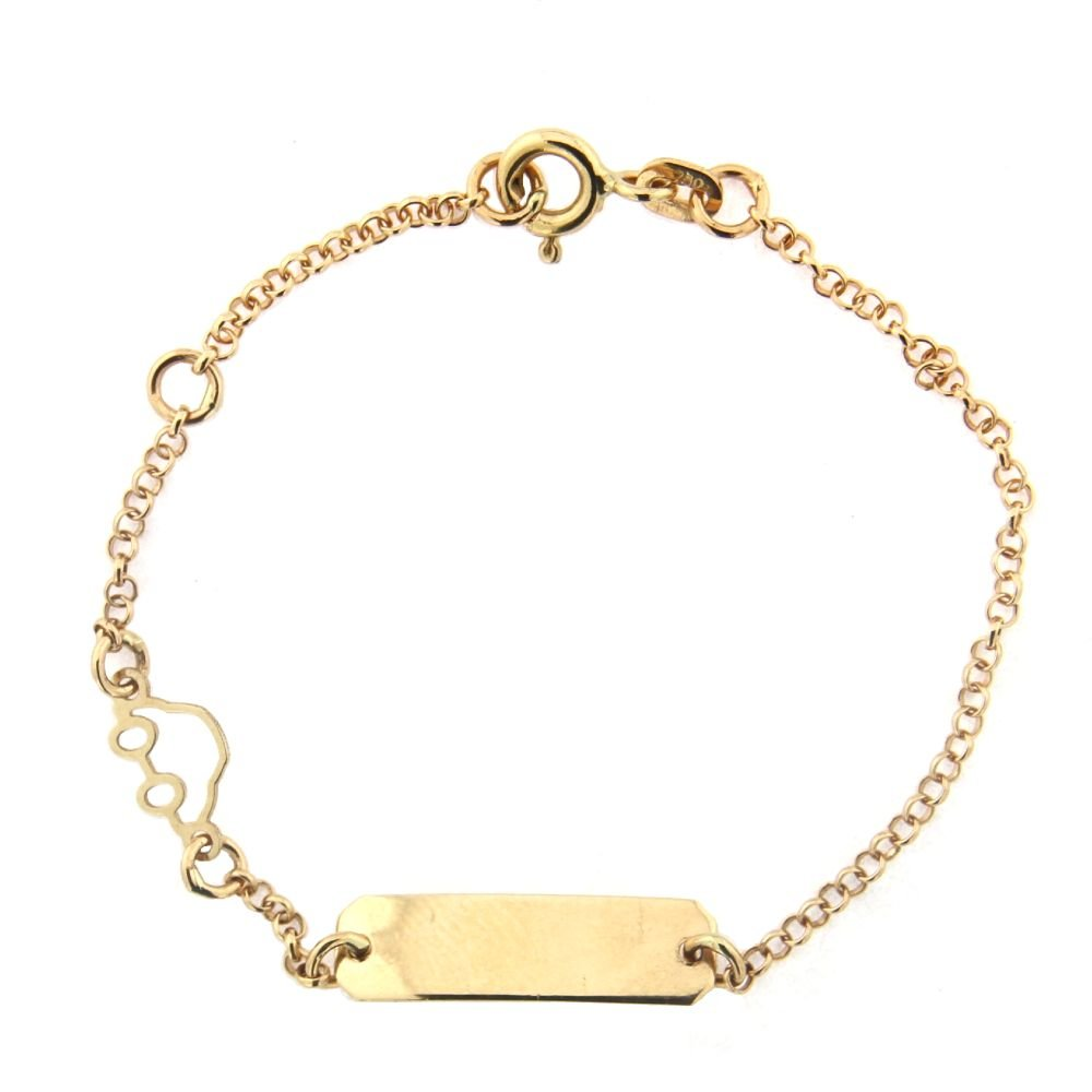 18K Yellow Gold Rollo chain Open Car Id Bracelet 5.5 inches with extra ring at 4.5 inches