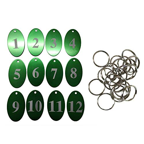 StayMax Aluminum Alloy Oval Number Tag Key Tag with Key Rings (1-25, Green)