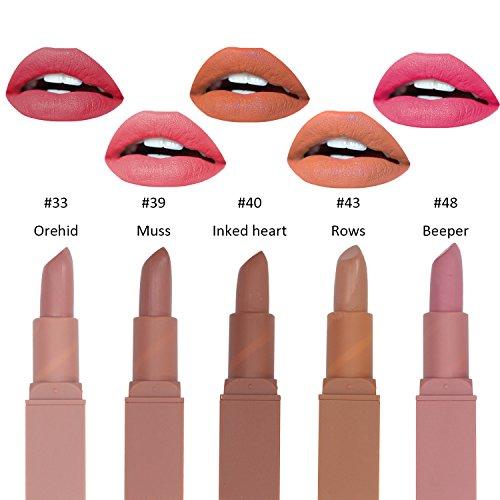 Matte Lipstick Set, 5 PCs Long Lasting Finish Moisturizing Lipstick for Lip Make Up