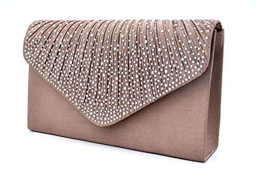 - Nodykka Women Evening Envelope Rhinestone Frosted Handbag Party Bridal Clutch Purse,One Size,Bronze