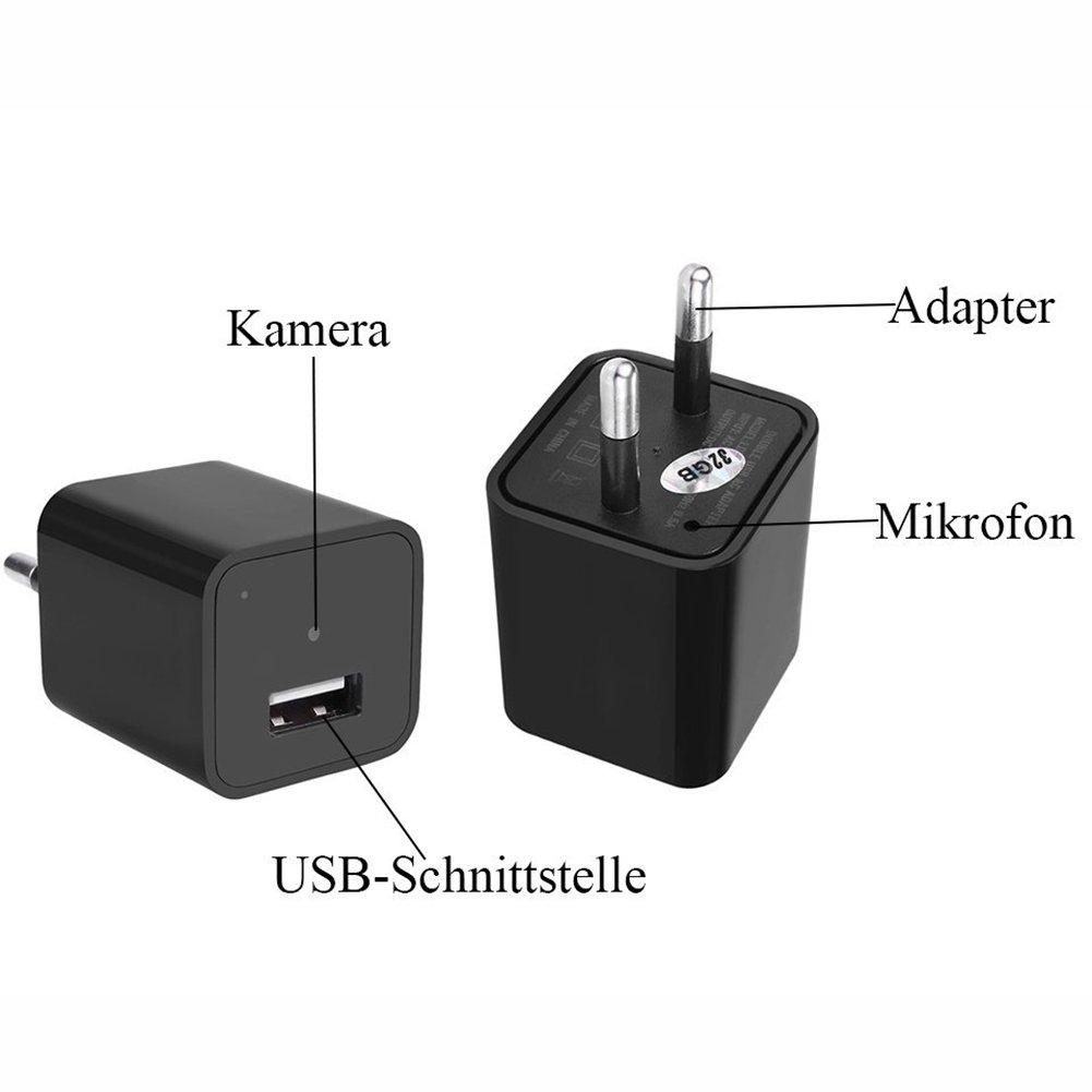 Cámara espía Detección de Movimiento, kamre 1080P Cámara oculta HD min Vigilancia Cámara oculta Nanny Kleine Cámara & USB de Cargador unidad, ...