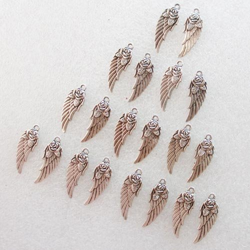50 Pcs Tibet Silver wing and rose Pendant Bead (Rose Silver Tibet)