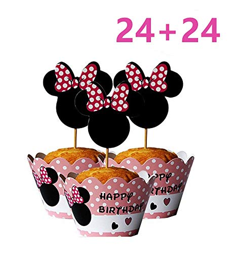 Mickey Mouse Minnie Cupcake Toppers and Wrappers Kids Party Cake Decorations Set of 24 -