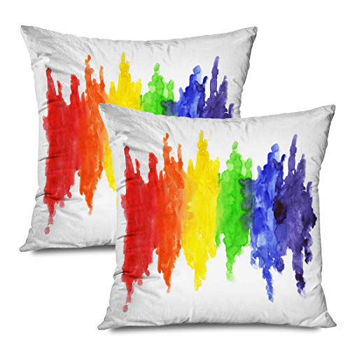 Ahawoso Set of 2 Throw Pillow Covers Square 18x18 Homosexuality Watercolor Rainbow Colors Sex Pride Gay Lesbian LGBT Miscellaneous Parade Textures Zippered Pillowcases Home Decor Cushion Cases
