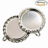 IGOGO Craft Bottle Cap with Holes Flat- 8 mm Split Rings Attached Silver,100 PCS