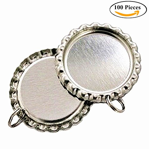 IGOGO Craft Bottle Cap with Holes Flat- 8 mm Split Rings Attached Silver,100 PCS by IGOGO