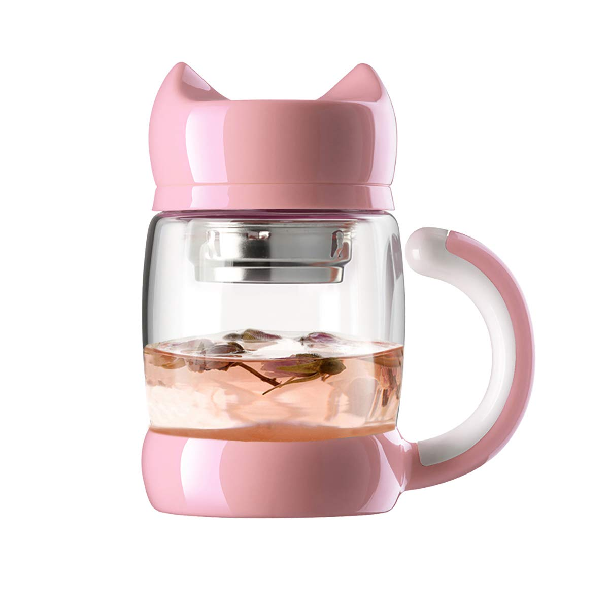 Cute Cat Tea Cups with Strainer/Infuser - 420 ml / 14 oz Portable Heat Resistant Glass Cat Tail Tea/Coffee Mugs - Best Gift for Tea/Cat lovers (Light Pink)