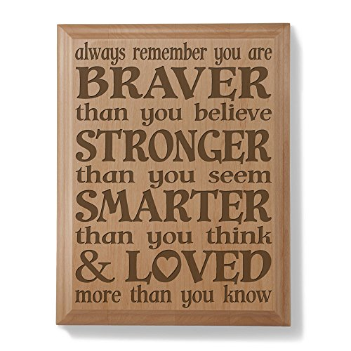 Kate Posh Always remember you are BRAVER than you believe, STRONGER than you seem, SMARTER than you think & LOVED more than you know - Engraved Natural Wooden Plaque - Christopher Robin to Pooh