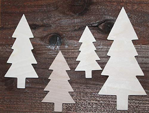 SET of 4 Trees Pine Forest Unfinished Wood Cutout Shapes Ready to Paint Crafts