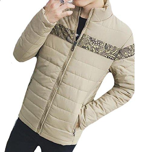 Coolred-Men Mandarin Collar Full Zip Suede Thickening Puffer Jacket Khaki L