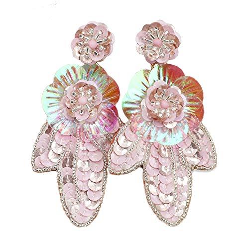 - J.Crew Women's Beaded Sequins Statement Earrings (Pink)