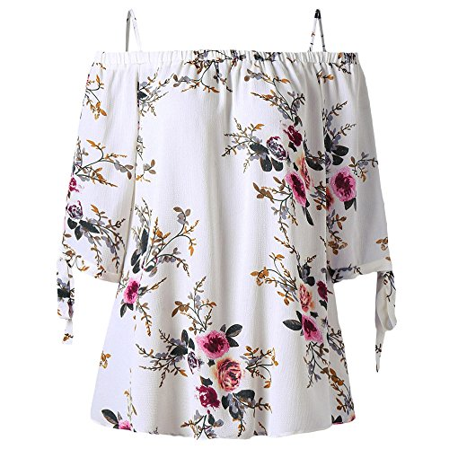 ZAFUL Women Plus Size Floral Classic Straps Cold Shoulder Regular Sleeve Blouse Shirt Top(White (Charming Saree)