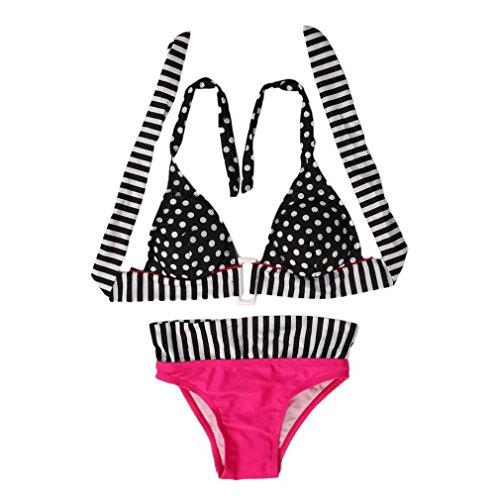 Ulable Taille haute vintage Frange vintage Bikini Maillot de bain Bain Bain Pois Dot