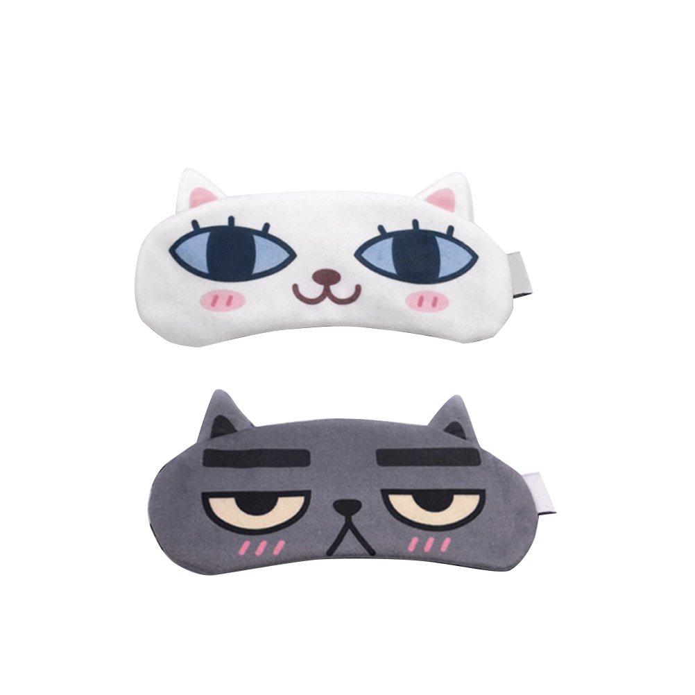 Maschera per gli occhi per i bambini - Maschera per gli occhi da sonno simpatico gatto FRCOLOR con impacco di ghiaccio per terapie a freddo