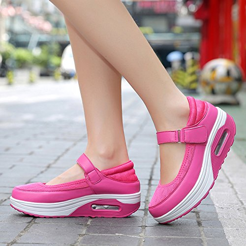 Velcro Shoes Womens Wedges EnllerviiD Mesh Mary Shape Up Fashion Sneakers Rose Upper Jane Platform Walking Toning rqAXXdYv