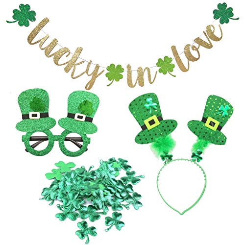 St. Patrick's Day Party Decoration Kit Lucky Shamrock Banner + Glasses + Hair Band + Shamrock Confetti Scatters Irish Green Decorations Set (Color : 01)