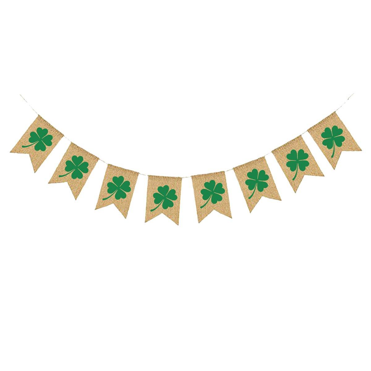 Tinksky St Patrick Tag Banner irische Kleeblatt Sackleinen ...