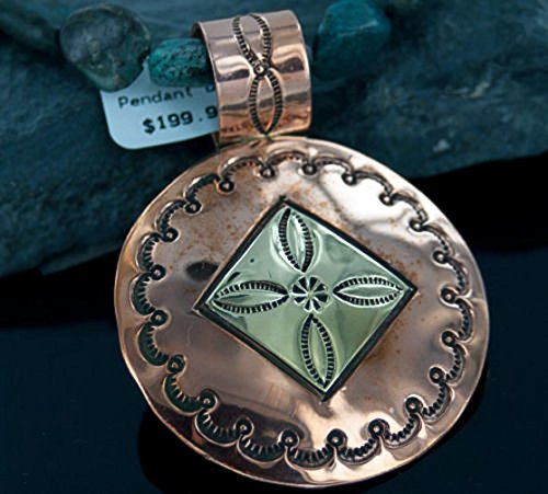 Large $400 Retail Tag Handmade Authentic Made by Robert Little Navajo Silver Copper Bronze Turquoise Native American Necklace by Native-Bay