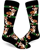 ModSocks Men's Corgi Christmas Crew Socks in Black (Fits Most Men Shoe Size 8-13)