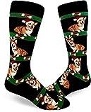 ModSocks Men's Corgi Christmas Crew Socks in Black (Fits Most Men Shoe Size 8-13)