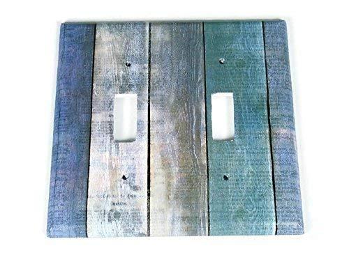 282D 2 Gang Lightswitch Plate Blue Barnwood