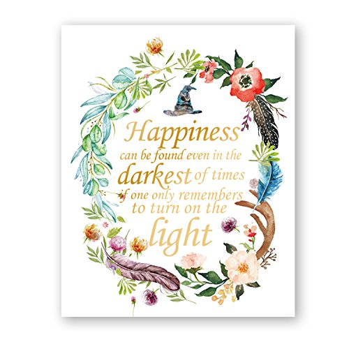IHopes+ 8X10 Happiness can be Found in The Darkest Times Real Gold Foil Floral Watercolor Print(Unframed) Dumbledore Harry Potter Quote Nursery Decor Wall Art Wedding
