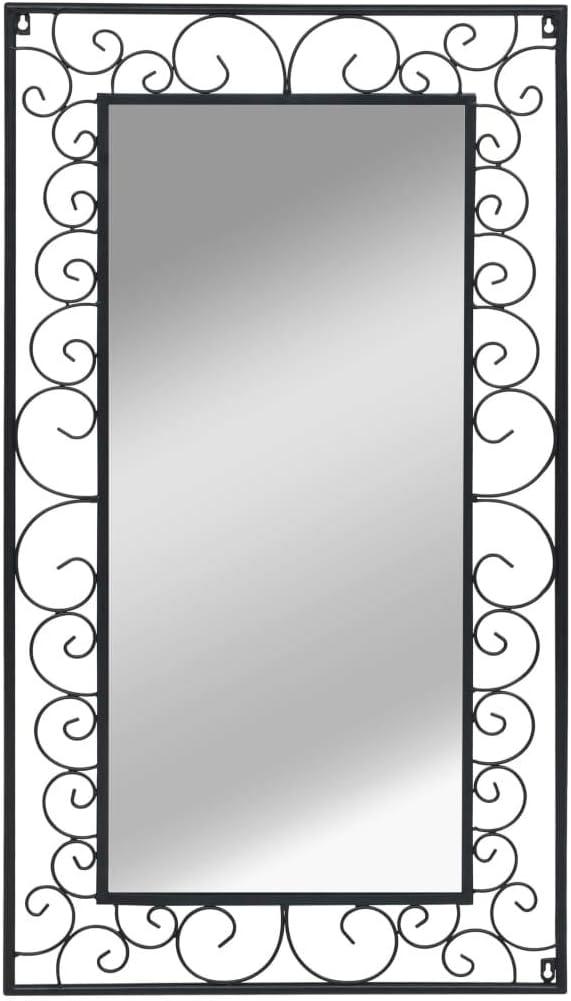 Festnight Wandspiegel Rechteckig Antik Spiegel Retro Badspiegel Schwarz