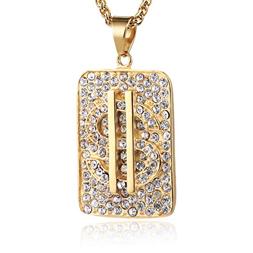 HZMAN Gold Plated Dollar Sign Stainless Steel Dog Tag Pendant Necklace, Cz Inlay, with Free Hip hop Chain
