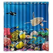 """Stylish Living Elegant Funny Underwater World Ocean Animal Coral Fish and Sea Turtle Art Bathroom Shower Curtain Liner for Home with Hook 66"""" x 72"""""""