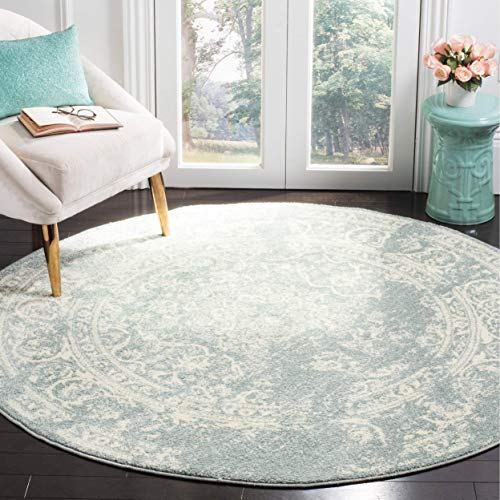 - Safavieh Adirondack Collection ADR101T Slate and Ivory Oriental Vintage Distressed Round Area Rug (6' Diameter)