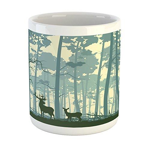 Ambesonne Deer Mug, Animal Silhouette in Foggy Forest Animals in Nature Themed Cartoon Dusk Artwork, Printed Ceramic Coffee Mug Water Tea Drinks Cup, Black White Grey