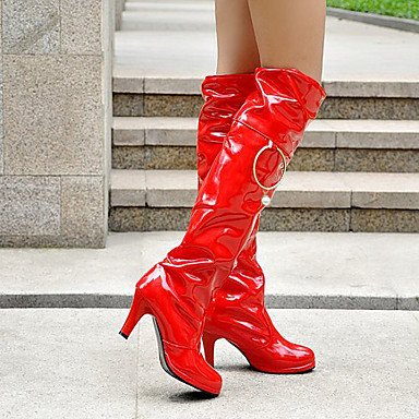 Fashion 10 RTRY Knee US9 EU41 5 For Winter Shoes Wedding Patent White Red Women'S Toe Black Boots Fall Bar 8 Boots Round Boots 5 CN42 High Leather UK7 wrBqRYnr