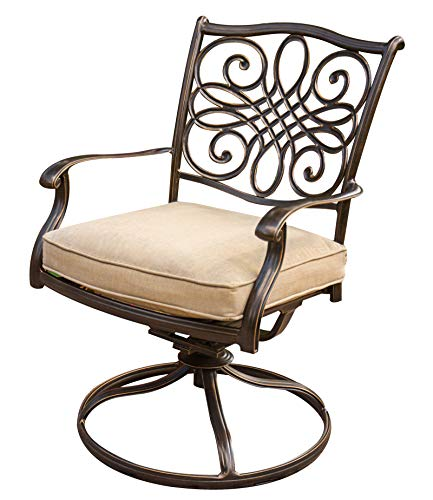 """Hanover TRADITIONS7PCSW, 4 Stationary, 2 Swivel Rocker Chairs, and 38""""x72"""" R Traditions 7-Piece Cast Aluminum Outdoor Patio Dining Set, Bronze Frame, Tan - Durable, weather-resistant set has 4 deep-cushioned dining chairs, 2 deep-cushioned swivel-rockers with 360-degree spin. Blended extruded-aluminum and decorative-cast components with hand-applied multiple-coat finish remains rust-free for the lifetime of the furniture Deep seat cushions for optimum comfort are quick-drying, stain-resistant, UV protected and maintain their original shape - patio-furniture, dining-sets-patio-funiture, patio - 51aOZgv5l9L -"""