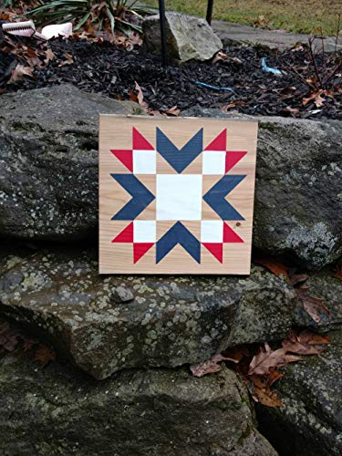 MarthaFox Reclaimed Rough Cut Barn Wood Barn Quilt Star Americana Fourth of July Red White Blue Porch Decor Rustic Mini barn Quilt Sign ()