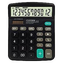 EDTara M28 Calculator with 12-Digit Display and Solar Battery Dual Power Desktop Calculator Black