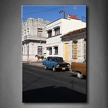 Kuba Street Classic Alten Autos In Die Stree House Road Pferd Art