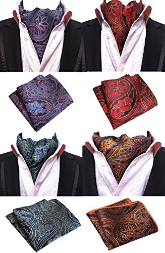 - MOHSLEE Men's Exquisite 4 Pack Cravat Floral Ascot Scarf Tie & Pocket Square Set