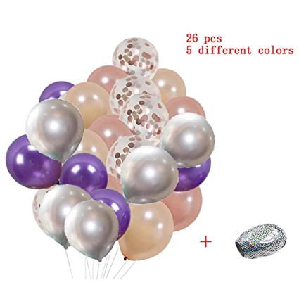 Amazon Happy Birthday Balloons Rose Gold Purple For Party Confetti 25 Pieces Bulk 12 Inch Large Toys Games